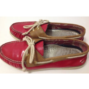 Sperry Top-Sider Red Patent Leather w/ Tan Loafers